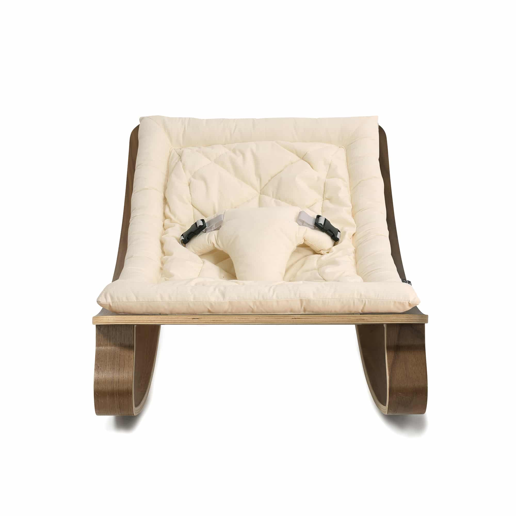 New Baby Rocker Levo In Walnut With Organic White Cushion