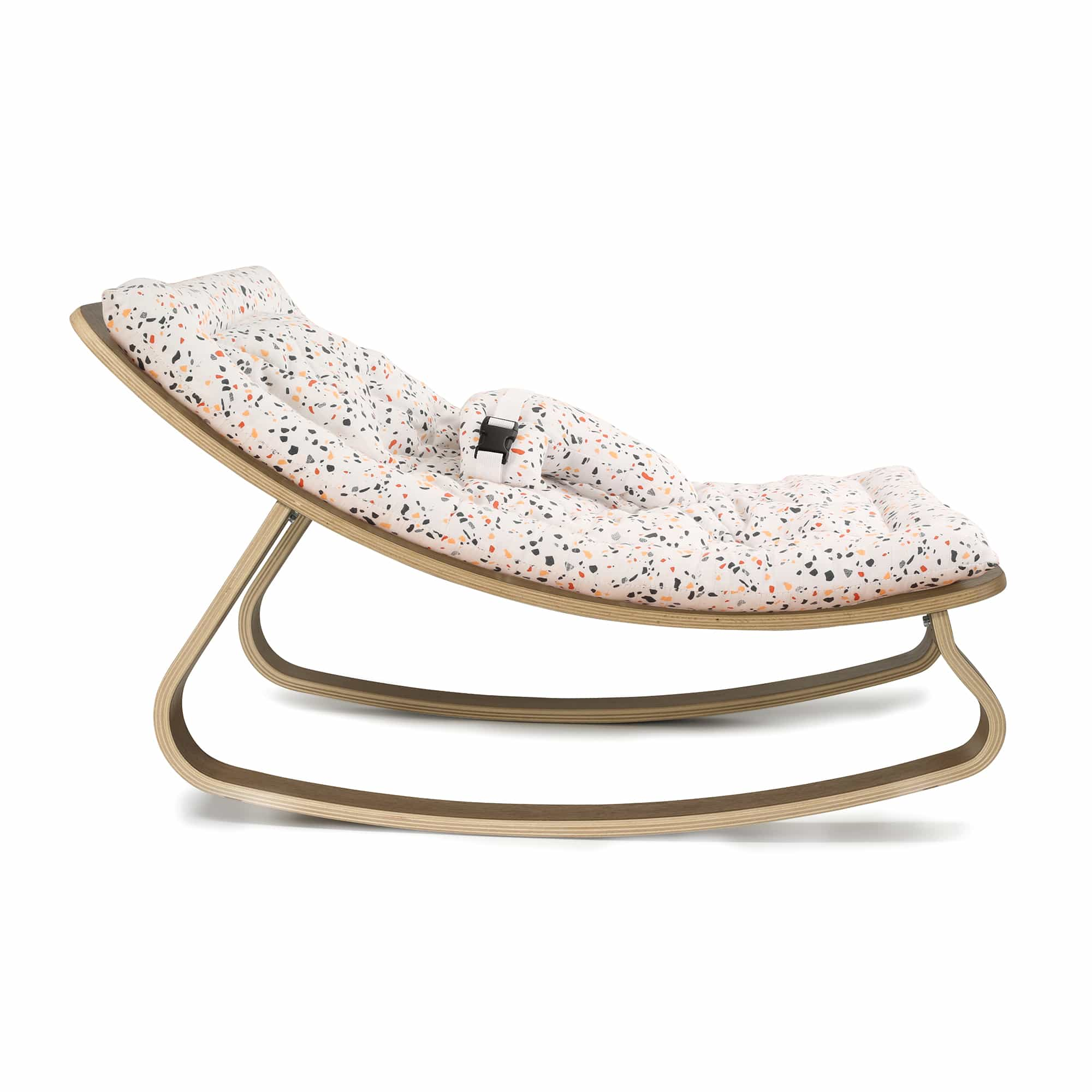 Baby Rocker Levo In Walnut With Milinane Terrazzo
