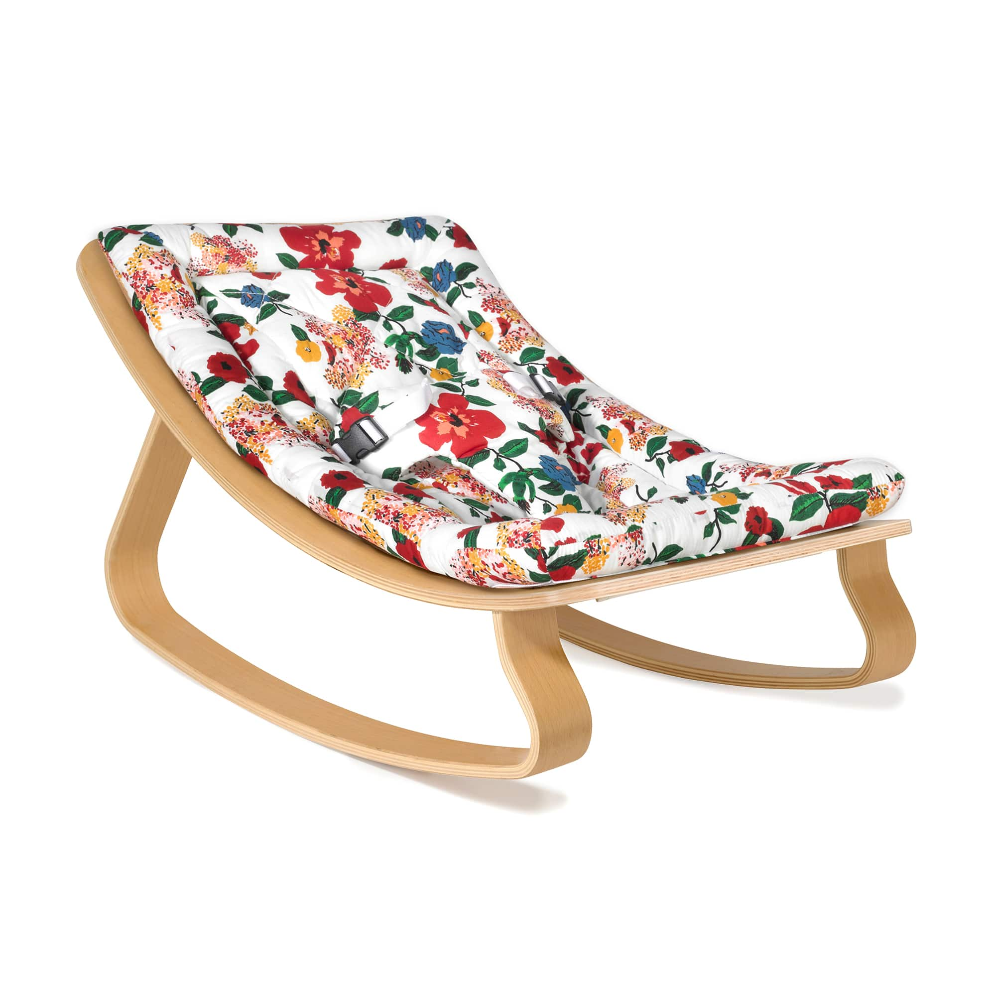 Levo Baby Rocker In Beech With Hibiscus Cushion